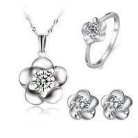 Wholesale Good Quality Crystal Earrings - Lovely Flower Jewelry Set,Excellent Quality 925 Sterling Necklace Earring Set,Good Designs with AAA Qualtiy Austria Crystal OS41