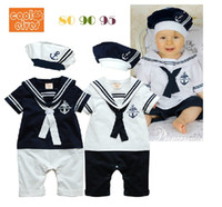 Wholesale White Sailor Suit - Retail Summer Newborn Navy Style Baby Boys Girls Rompers + Hat 2Pcs Set Kid's Short-Sleeve Sailor Bodysuits Children Jumpsuit Clothing Suit