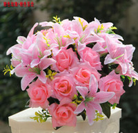 Wholesale Home Furnishings Sale - Cheap Sale Elegant Artificial Silk Lily and Rose Flower Craft Ornament For Home Furnishings Wedding Decoration Free Shipping