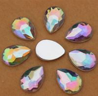 Wholesale Acrylic Flatback Sewing Beads - 100PCS 18*25mm Drop shape Acrylic Rhinestones Flatback beads Sew on 2 Holes ZZ241