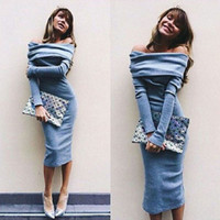 Wholesale Knitted Chiffon Dress - Women Off The Shoulder Winter Dress 2016 Sexy Long Sleeve Slash Neck Knitted Maxi Dress Plus Size Blue Slim Bandage Office Dress
