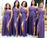 Wholesale latest wedding dresses bridesmaid resale online - Latest A Line Purple Long Bridesmaid Dresses One Shoulder Sexy High Side Split Wedding Party Dress Chiffon Maid of Honor Evening Dress