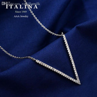 Wholesale Italina Necklace - Wholesale-200941 Italina Jewelry Platinum White Gold Plated Fashion Crystal Letter V Chain Necklace