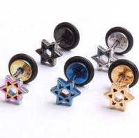 Wholesale Earings Punk Style - Earings for Woman Hot New Trending Women's And Men's Fashion Jewelry Punk Style Unisex 316L Stainless Steel Hexagram Stud Earrings