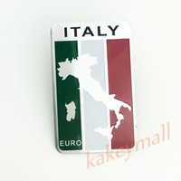 Wholesale 3d Stickers Italy - Universal Car Truck Chrome Accessories Italy Italian Map IT Flag Logo Emblem Badge 3D Sticker Decal Trim