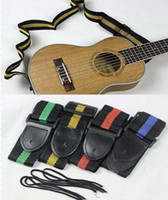 Wholesale Coloured Belts Leather - 4 colors for choices 10pcs lot Affordable And Durable Nylon + Leather Guitar Strap Belt Accessory Random Colour
