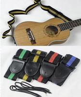 gitarrenwahl groihandel-4 Farben für Wahlen 10pcs / lot erschwinglicher und dauerhafter Nylon + Leather Guitar Strap-Gurt-Zusatz-gelegentliche Farbe