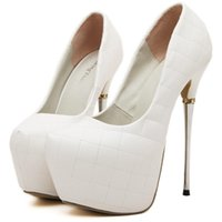 Wholesale Stiletto Heel 16 Cm - Sexy shoes ultra high heel 16 CM white wedding shoes women pumps prom dress 2015 shoes size 35 to 40