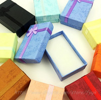 Wholesale Earring Cases - Wholesale Square Ring Earring Necklace Jewelry Box Gift Present Case Holder Set Many colors to choose from