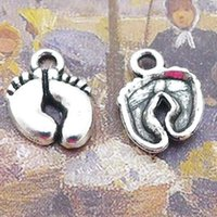 Wholesale Baby Foot Charms - 10*10MM Antique tibetan silver baby feet charms for bracelet findings, metal pendants for necklace, vintage zinc alloy charm jewelry making