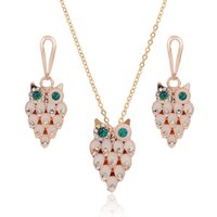 owl necklace korean - Enamel Charms Jewelry Sets Rhinestone Korean Style Rose Gold Plated Necklace earrings Set Shell Cute Owl Shape Earring For Women