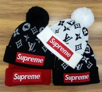 Wholesale Cotton Logo Hats - Hot Winter unisex Tide brand BOX LOGO men knitted hat beanies pom-pom skull caps hats hight quality couple beanies spring autumn women hats