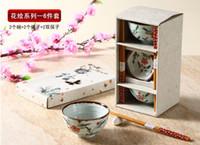 Wholesale Porcelain Sauce Dish - 6pcs Asian Bowl Gift Set with Porcelain Rice Bowls Chopsticks Sauce Dishes Plum Blossom Orchid Bamboo Chrysanthemum Design