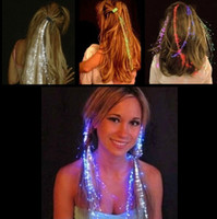 Wholesale Wholesale Fiber Optic Hair Lights - Luminous Light Up LED Hair Extension Flash Braid Party girl Hair Glow by fiber optic For Party Christmas Halloween Night Lights Decoration