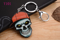 Wholesale Wholesaler Bags - Skull head with New KeyChain Pendant Purse Bag Car Key Chain ring New Fashion Lover Gift Y101
