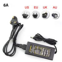 Wholesale Wholesale Socket Light Cords - DC12V 6A Power Supply Adapter Transformer For 5050 3528 3014 5630 LED Light Ribbon Tape EU UK AU US Cord Plug Socket
