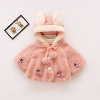 Wholesale Cute Baby Girl Clothes Retail - Basacomie Retail Children's Clothing Girls' Coat Warm Velvet Baby Girls Cloak Winter Warm Kids Outerwear Coats Furry Fur Coat 0-3T A7927