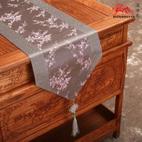 Wholesale Damask Runners - Patchwork Cherry Blossoms Table Runners Chinese knot Luxury Damask Coffee Table Cloth Dining Table Pads for Christmas Banquet Decorations