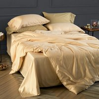 Champagne Gold 4pcs Cotton Solid Color Bedding Set Rainha Cama king size Roupa de cama macia Duvet Cover Flat Sheet Sets Estilo elegante