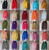 ingrosso scialli massicci di seta-Vendite calde! 10 pezzi Pashmina Cashmere seta solido scialle Wrap femminile delle donne sciarpa accessori 40 colori (z07)