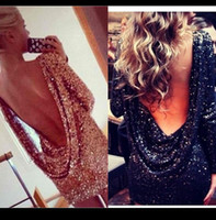 Wholesale Cheap Clubwear Free Shipping - Cheap Gold Black Sequin Cocktail Dresses Short Mini V Back Sexy Backless Sheath Party Clubwear Gown Women Night Dress Free Shipping Stock XP