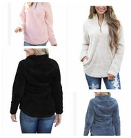 Wholesale Wholesale Branded Sweatshirts - Women Sherpa Jacket Hooded Coat Warm Outwear Women's Clothing Half Zipper Pullover Sweatshirt Hip Hop Streetwear LJJK831