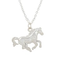 Wholesale Single Rhinestone Necklace - Fashion Design Single Side Metal 100pcs a lot Rhodium Custom Animal Horse Link Chain Pendant Necklaces For Jewelry Making