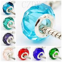 facettierte charme glasperlen großhandel-Großhandel Mode Sterling Silber Schraube Faszinierende Faceted Murano Glas Perlen Fit Pandora Schmuck Charm Armbänder Halsketten
