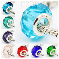 Wholesale Round Sterling Bead - Wholesale Fashion Sterling Silver Screw Fascinating Faceted Murano Glass Beads Fit Pandora Jewelry Charm Bracelets & Necklaces