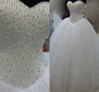 Wholesale strapless sweetheart ball gown wedding dress resale online - Luxuy Real Image Crystal Wedding Dresses Sweetheart Strapless Princess Tulle Bridal Gowns