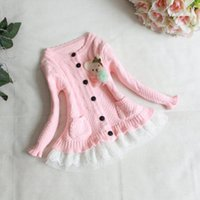Wholesale Baby Girls Cardigan Autumn Girls Long Sleeve lovely bear lace hem Single breasted knit Sweater Children Outwear