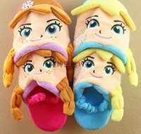 Wholesale Doll Shoes For Kids - elsa anna slippers plush for kids 3d slipper doll slippers autumn winter shoes home slippers winter free shipping in stock