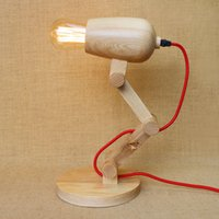 eski masa lambaları toptan satış-Vintage ahşap masa lambası Çatı Ahşap masa lambası Amerikan Vintage Ahşap Masa Aydınlatma Saç Kurutma Makinesi şekli silindir Katlanır Masa Lambası