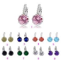 Wholesale Earrings Weding - Platinum Plated Jewelry Big Round Zircon Earrings Multicolor Crystal Hoop Earrings For Women Luxury Weding Bridal Jewelry HZ