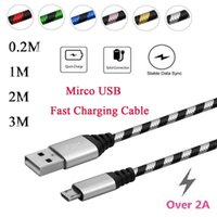 Wholesale High Speed Threading - 2A 0.2 1 2 3M Thread Micro USB High Speed Charger Data Sync Cable Cord For Samsung Android Phone DH1700113