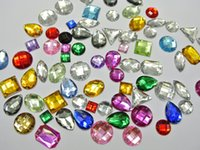 Wholesale Assorted Acrylic Shapes - 200 Mixed Color Flatback Acrylic Sewing Rhinestone Assorted Shape Sew on beads
