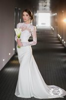 Discount backless wedding dress veils - 2015 Ivory Wedding Veils Sexy Mermaid Sheer Lace Wedding Dress Crew Neck Long Sleeves Backless Court Train Bridal Gown