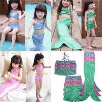 Wholesale Swimwear For Little Girls - little mermaid swimsuit for girls 3pcs swimwear children swimming suit Sparkling Mermaid Beach swimsuit 3 piece dress Blue Green Pink