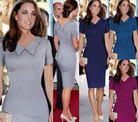 neuer xxl bleistift großhandel-S-XXL New Celeb Frauen Arbeit Casual Dress Prinzessin Kate Middleton Vestidos Vintage OL Rot Bodycon Party Bleistift Kleider dropship