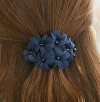 Wholesale Leather Flower Hair Clip - Hot Selling Classic Korean Fashion Daisy Floral Hair Accessories Cloth Flower Hair Clip Hairpin For Women DHF434