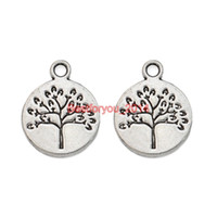 Wholesale Tibetan Silver Tree Life - Tibetan Silver Plated Tree of Life World Charms Pendants Jewelry Making Craft DIY Handmade 18x15mm