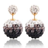 Wholesale Disco Ball Tone - Hot Design Clay Crystal Shamballa Earrings Women Disco Double Ball Earrings Gradient Two Tone Color Stud Earring E114