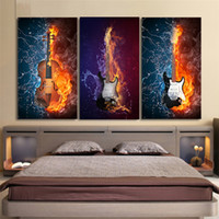 Black Burning fire Guitar Music 3pcs, Modern Abstract Canvas Pittura a olio Stampa Wall Art Decor per soggiorno Home Decoratio