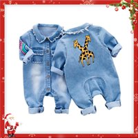 Wholesale Jeans Jumpsuits Rompers - Little Baby Toddler Clothes Romper Jeans Jumpsuit Overalls Rompers with Cute Rainbow Giraffe Pattern Unisex