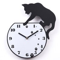Wholesale 1604 A021 wall clock fun cat quartz times hours home decoration decor wooden crafts free ship high quality