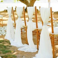 party chairs wholesale 2018 - 180 X 280cm Upscale White Chiffon Wedding Chair Cover And Sashes Romantic Wedding Party Banquet Chair Back Decoration 50 pieces Lot