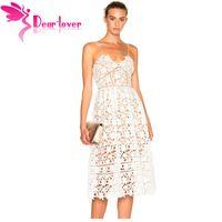 Wholesale dear dress - Dear Lover Party Dresses Womens Elegant Sexy spaghetti strap Lace Hollow Out Nude Illusion Mid-Calf Dress Vestido de Renda 61636 q1113
