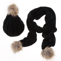 Wholesale Thick Knit Scarf Sets - Cable Acrylic Knitted Pom Beanie Scarfs 2PCS Set Mens Womens Winter Yarn Thick Warm Fur Ball Hats Scarves For Adult Woman Rib Sport Snow Cap