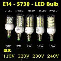 Wholesale Luminaria Led 15w - 5X Lampada LED Bulb 220V Tube 5730 SMD E14 LED Light Lamparas Bombillas LED Lamp Filament luminaria 12W 15W 110V Warm White White