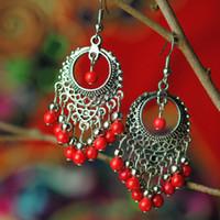 Wholesale Red Tibetan Earrings - Big star handmade vintage Chinese wind Tibetan silver dangle earrings ,New Original Ethnic jewelry simple beaded earrings,